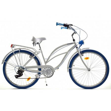 DALLAS BIKE Cruiser 26″ 6spd – biały z niebieskimi dodatkami