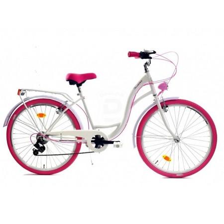 DALLAS BIKE City 26″ 6spd – biały z różowymi dodatkami