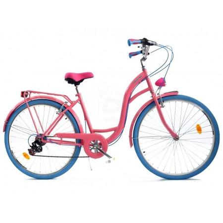 DALLAS BIKE City 26″ 6spd – różowy z niebieskimi dodatkami