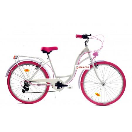 Miejski rower damski DALLAS 28 biegi damka biały z różem