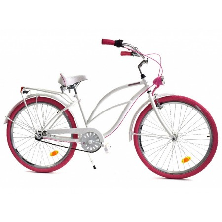 DALLAS BIKE Cruiser 26″ 3spd – biały z różowymi dodatkami