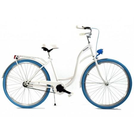 DALLAS BIKE City 26″ 1spd – biały z niebieskimi dodatkami