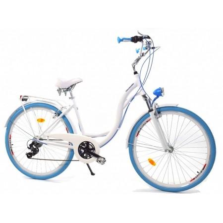 DALLAS BIKE City Alu 28″ 6spd – biały z niebieskimi dodatkami